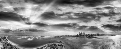 Black and white aerial view of Dubai Marina and Palm Jumeirah - Stock Images