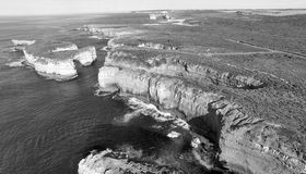 Black and white aerial view of Loch Ard Gorge and Island Arch, P. Ort Cambell Royalty Free Stock Image