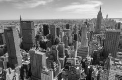 Black and white view of Manhattan, New York royalty free stock photo