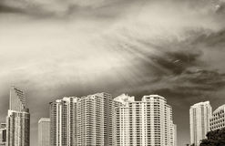 Black and white aerial view of Miami Beach buildings. Bird's eye Stock Images