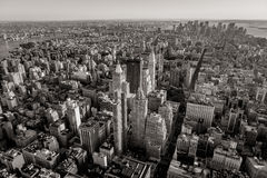 Black and white aerial view of New York cityscape. Aerial view of Manhattan below 30th Street including Midtown, Chelsea, East Village, Lower Manhattan and the Royalty Free Stock Image