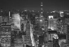 Black and white aerial view of New York at night, USA stock photography
