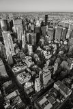 Black & White aerial view of NYC. Vertical New York. Royalty Free Stock Photo