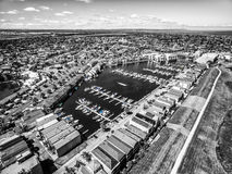 Black and white aerial view of Patterson River and Patterson lak Royalty Free Stock Photos