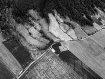 Black and White Pastures Aerial. Black and White Aerial view of roads and Pastures in Sete Cidades on Sao Miguel in the Azores stock photos