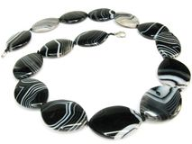 Black and white agate beads Stock Images