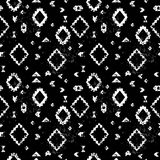 Black and white aged geometric aztec ethnic grunge seamless pattern, vector. Background Royalty Free Stock Images