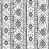 Black and white aged geometric aztec grunge seamless pattern, vector Royalty Free Stock Photos