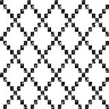 Black and white aged geometric rhombus shape grunge seamless pattern, vector Stock Photos