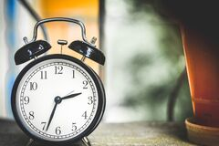 Black and White Alarm Clock at 2:34 Stock Photos
