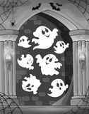Black and white alcove and ghosts 1 Stock Photo