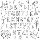 Black and white alphabet with forest animals. Great for coloring page, posters and children design. Vector illustration vector illustration