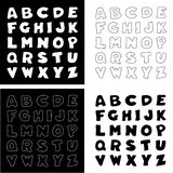 Black & White Alphabet, Four Versions Royalty Free Stock Images