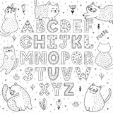 Black and white alphabet with funny cats. Abc coloring page. Vector illustration vector illustration