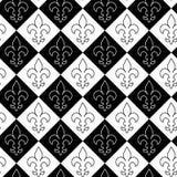 Black and white alternating Fleur-de-lis contoured Stock Photo