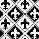 Black and white alternating Fleur-de-lis with dotted squares Royalty Free Stock Image