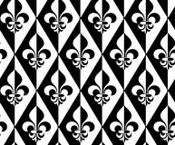 Black and white alternating Fleur-de-lis half and half dot vector illustration