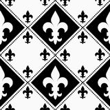 Black and white alternating Fleur-de-lis with small Stock Photos