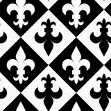 Black and white alternating Fleur-de-lis up and down Stock Photography