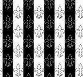 Black and white alternating Fleur-de-lis vertical contoured Royalty Free Stock Photo