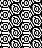 Black and white alternating rectangles cut through hexagons cros Stock Photos