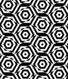 Black and white alternating rectangles cut through hexagons Stock Photo