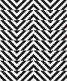 Black and white alternating slim chevron with horizontal cut Stock Images