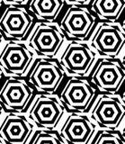 Black and white alternating squares cut through hexagons Royalty Free Stock Photo