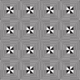Black and white alternating squares eight ray cut Royalty Free Stock Photos