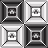 Black and white alternating squares with maple leaves Stock Photos
