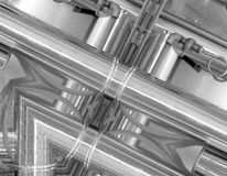 Black and white aluminum background. Metal pipes and abstract technological components. Industrial concept. Black and white aluminum background. Metal pipes and stock illustration
