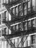 Black and White American fire escapes on an old building at Chicago Center. Chicago, Illinois, USA stock photography