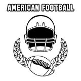 Black and white american football emblem Stock Image