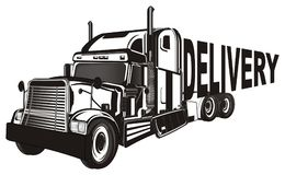 Trailer and delivery. Black and white american trailer with black word delivery vector illustration