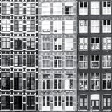 Black and white Amsterdam windows background stock photo