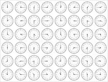 Black and White Analog Clocks Showing Time Stock Photography