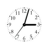 Black white analogue clock face dial, isolated. Black and white analogue clock face dial reading 3:03 PM, isolated macro Royalty Free Stock Photo