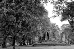 Black and White Ancient Pagoda in archaeological site at Ayuttha stock photography