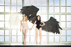 Black and White Angels Royalty Free Stock Images