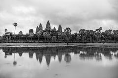 Black and white Angkor Wat. A black and white shot of Angkor Wat, Siem Reap, Cambodia Royalty Free Stock Photography