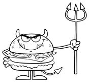 Black And White Angry Devil Burger Cartoon Character Holding A Trident Stock Images