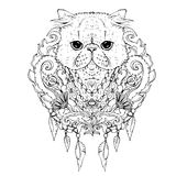 Black and white animal Cat head, abstract art, tattoo, doodle sketch. Stock Image