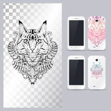 Black and white animal Cat head. Vector illustration for phone case. Stock Image