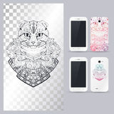 Black and white animal Cat head. Vector illustration for phone case. Royalty Free Stock Photos