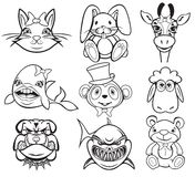 Black and white animal collection Royalty Free Stock Photos