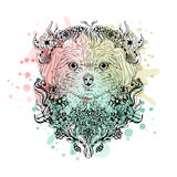 Black and white animal Dog head, abstract art, tattoo, doodle cketch. Watercolor background. Royalty Free Stock Photos