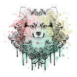 Black and white animal Dog head, abstract art, tattoo, doodle cketch. Watercolor background. Stock Photo