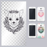 Black and white animal dog head. Vector illustration for phone case. Stock Images