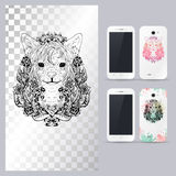 Black and white animal dog head. Vector illustration for phone case. Stock Photo