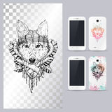 Black and white animal dog head. Vector illustration for phone case. Stock Photography